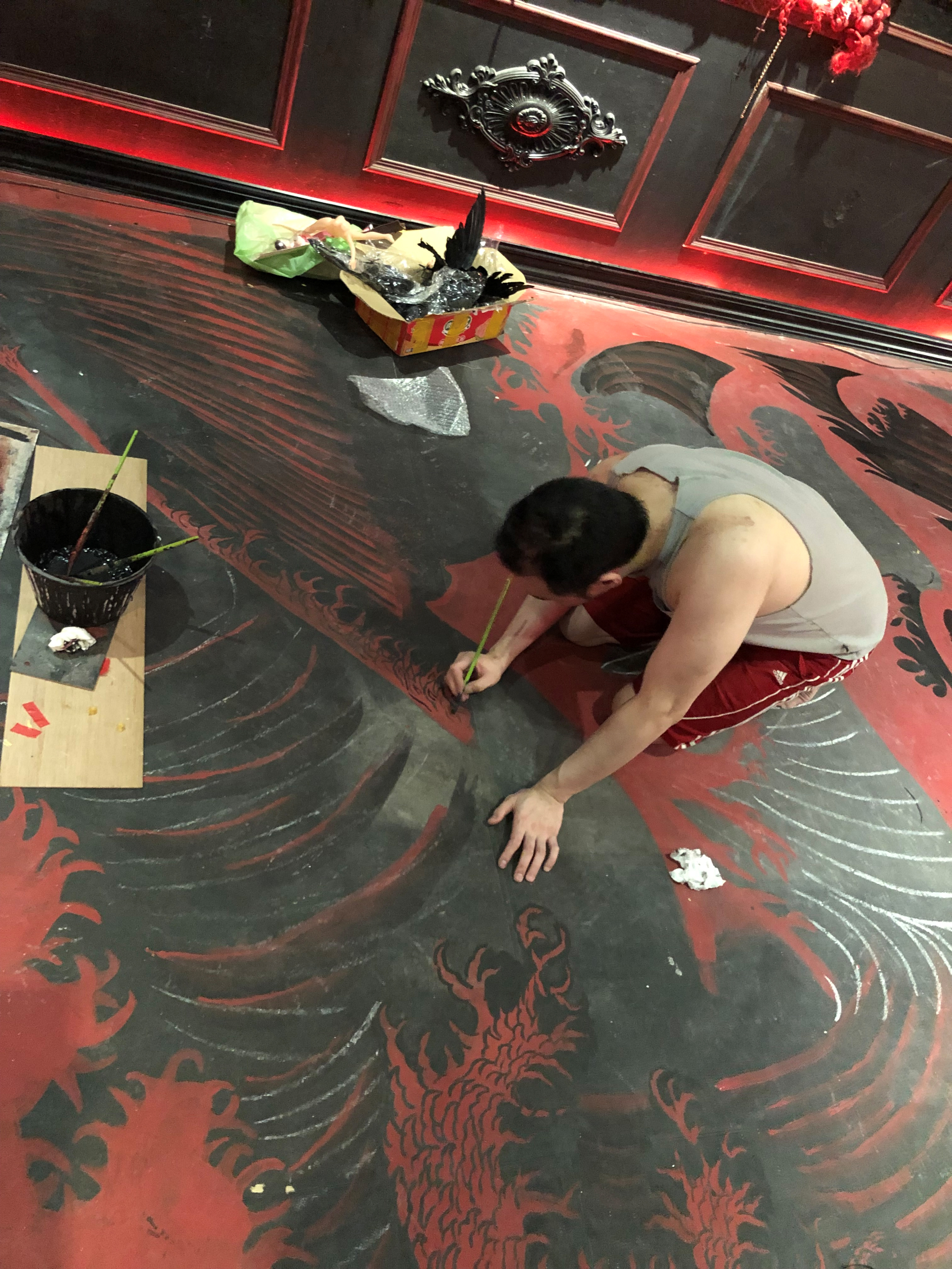 me painting the floor for a scene for Inhuman Love